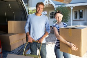 new home buyers with boxes