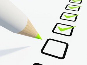 a buyer checking boxes on a checklist